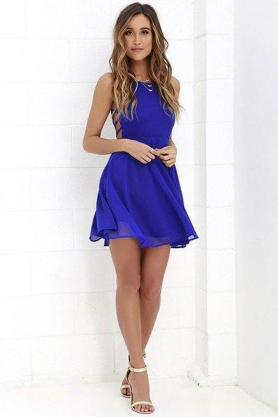 Halslinjesida Royal Blue Fit och Flare Chiffong Mini Spets Klänning