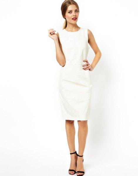 vit läder midi shift klänning