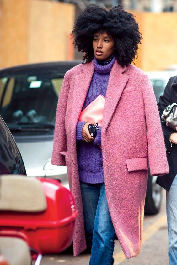 Boucle Coat rosa lila