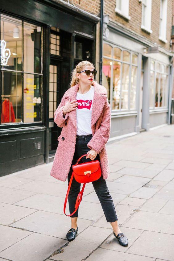 Boucle Coat rödrosa