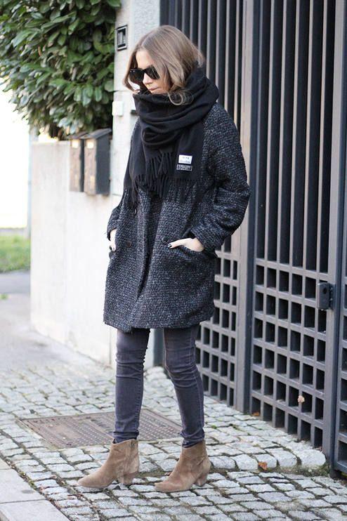 Boucle Coat grå svart