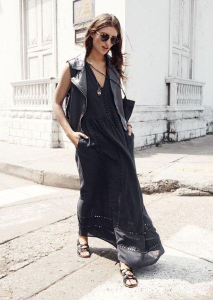 svart luftig maxiklänning med V-ringning