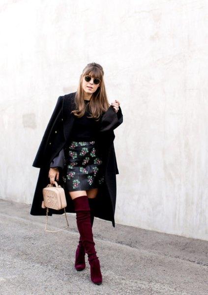 broderad läder kjol svart lång ullrock