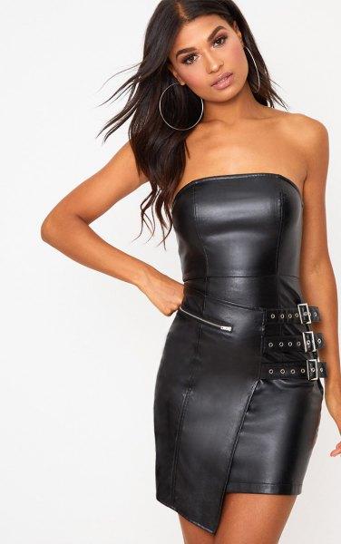 svart läderrör klänning dragkedja fram detials