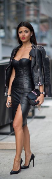 svart älskling hals bodycon mini klänning läderjacka
