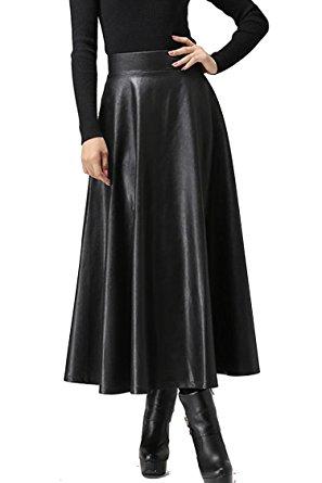 svart maxiklänning i läder med hög midja