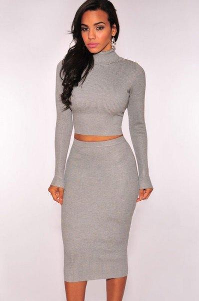 tvådelad midi-tröja klänning med grå tröja tröja