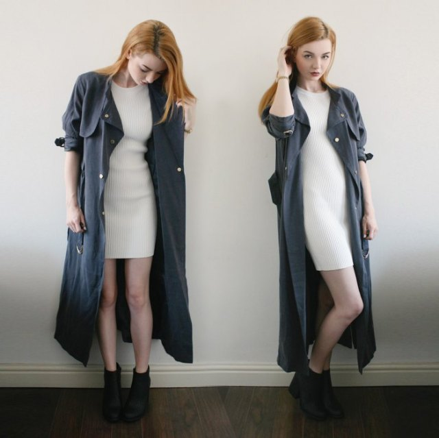 grå maxi trenchcoat vit ribbad minitröja klänning