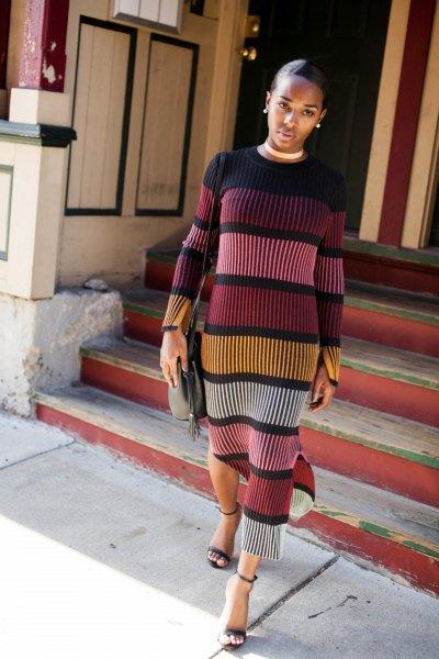 Långärmad midi-färgblockskiftklänning