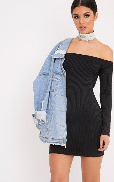 svart av axeln figur kramar mini rib klänning