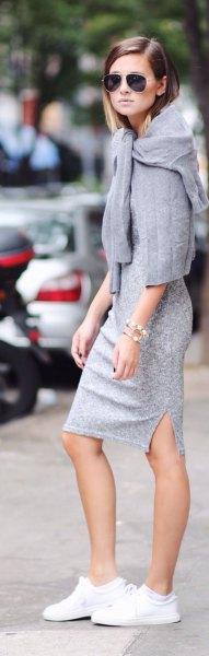 grå spets midiklänning med tröja över axlarna