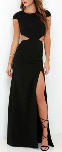 High Split Maxi Dress Strappy Sandaler