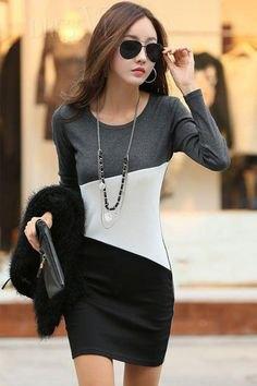gråvit och svart färgblock långärmad bodycon miniklänning