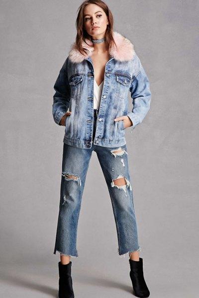korta rippade jeans svarta fotkängor
