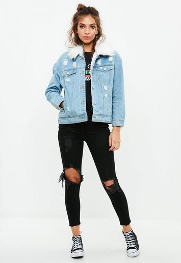 helt svart jeansjacka