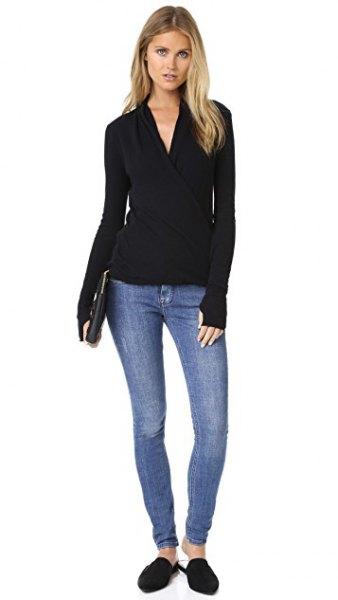 svart skinny jeans toffel