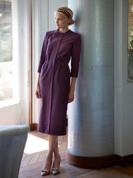grå midiknappklänning