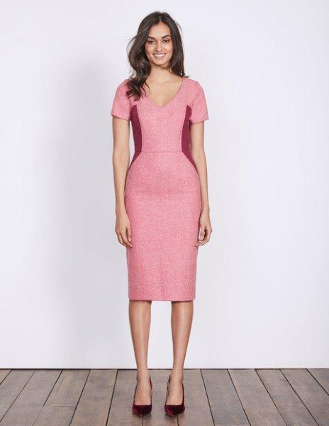 rosa ull midiklänning med V-ringning
