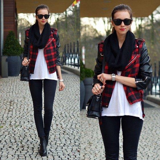 röd och svart rutig läderjacka vit chiffongblus