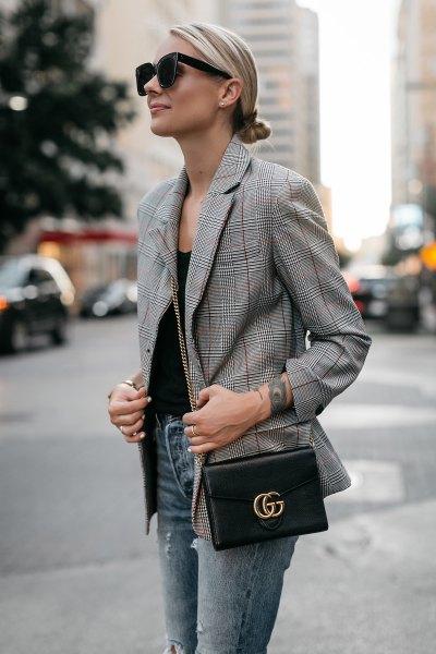 rutig jacka svart väst topp skinny jeans