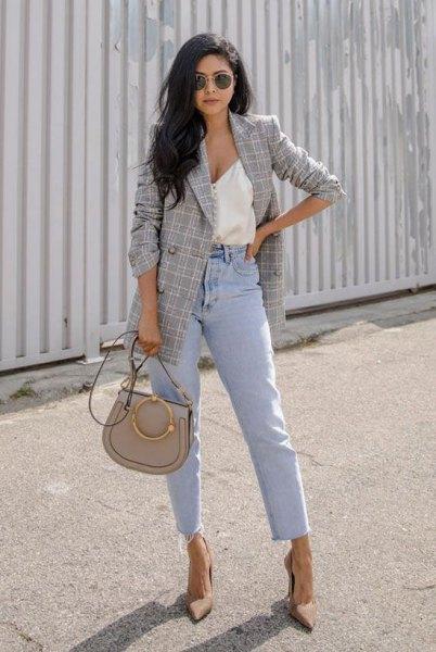 vit djup v-hals väst topp mamma jeans