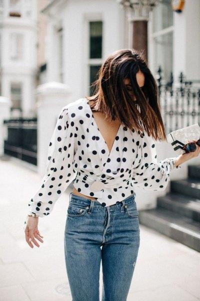 Polka Dot Tie Midja Blus Jeans Outfit
