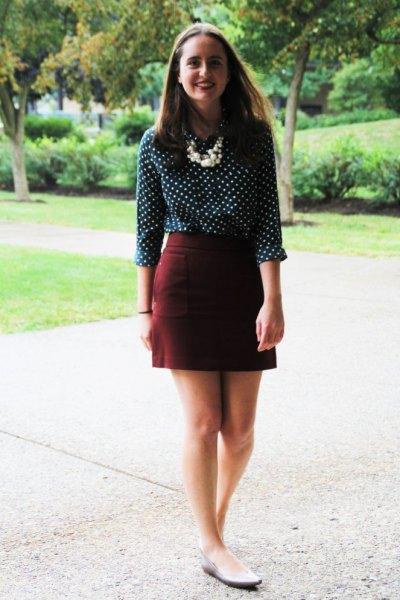 Polka dot burgundy mini penna kjol