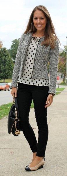 Tweed kofta med vit och svart prickblus