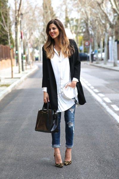 vit knapp tunika klänning svart lång kavaj