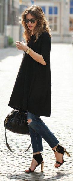 svart tunika klänning skinny jeans klackar