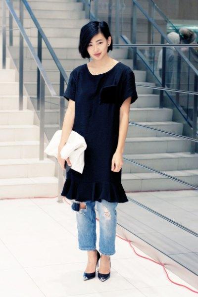 svart tunika klänning mamma jeans