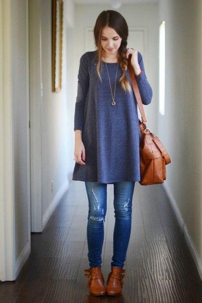 grå tunika klänning rippade skinny jeans