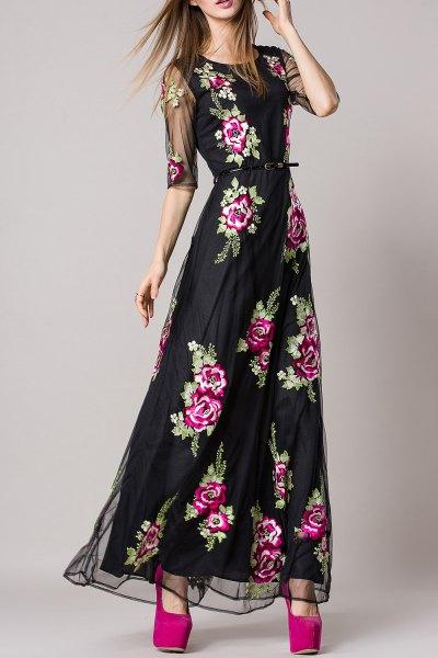 svart rynkad midja maxi blommig klänning