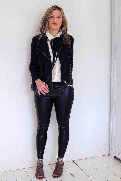 vit slipshalsblus svart casual blazer läder leggings