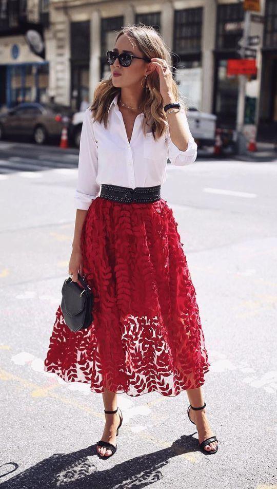 jordgubbar röd tyll kjol