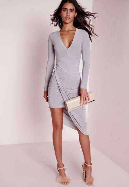 grå långärmad hög-låg mini wrap-klänning