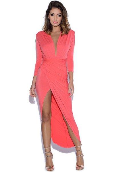 rosa ärmlös maxiklänning
