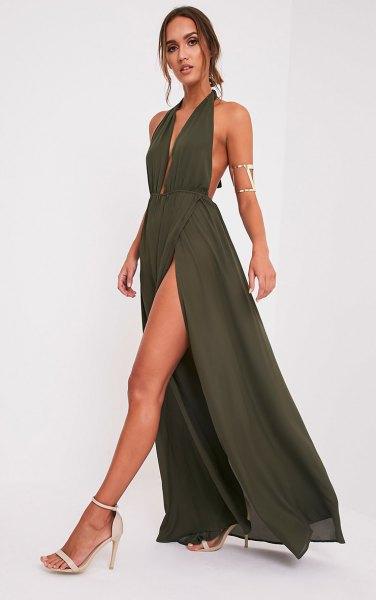 grön maxi hög split dykning klänning