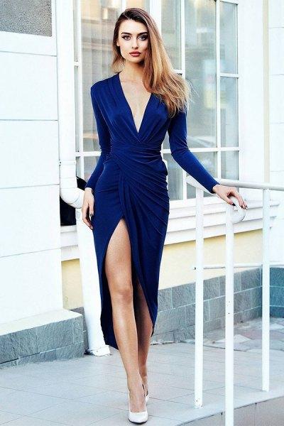 blå midiklänning