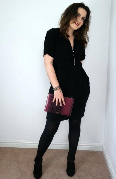 svart blixtlås med dragkedja med leggings och stövlar