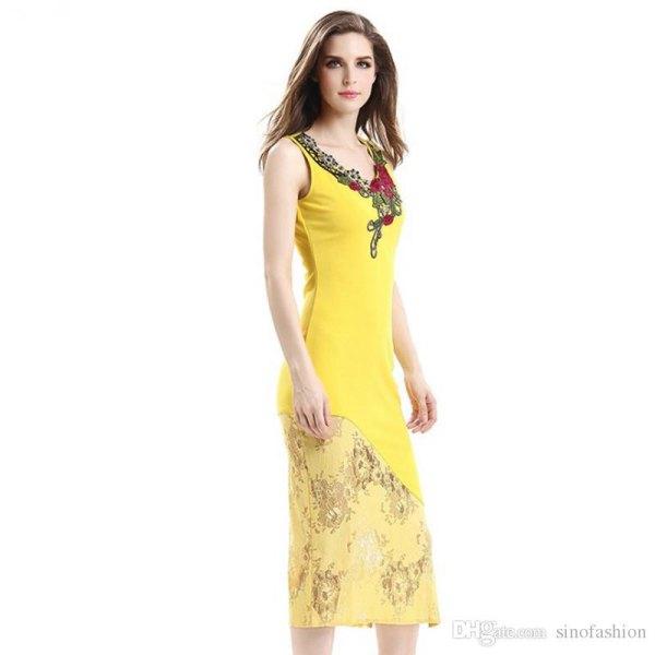 Citrongul Midi-mantel tillfälle klänning