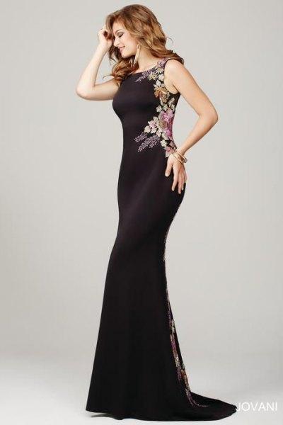 svart blommig sjöjungfru tillfälle klänning