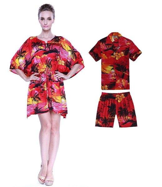 röd och rosa hawaiisk miniklänning