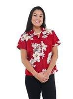 Hawaiiskjorta med rött och vitt blommönster och svarta skinny jeans