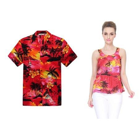 röd och gul hawaiisk stil linne med vita jeans