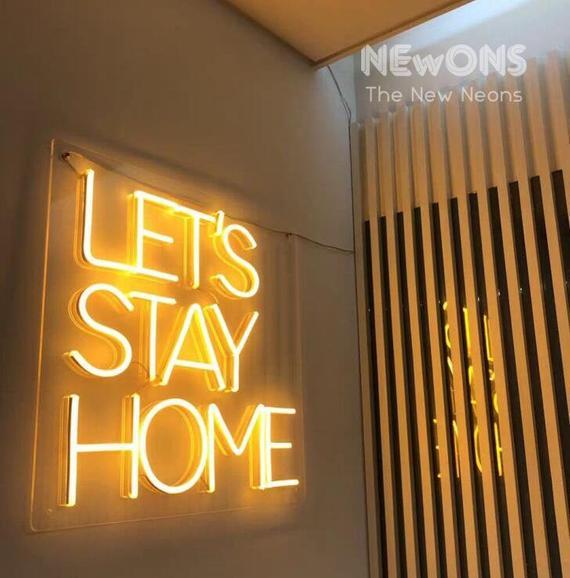 Låt oss stanna hemma NEON tecken NEON ljus heminredning    Et