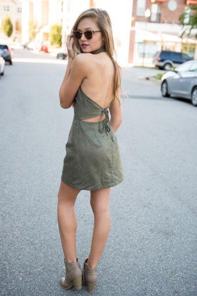 grå rygglösa mocka klänning ankel stövlar