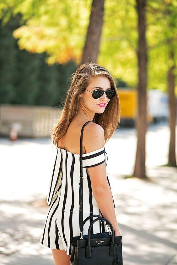 Svarta och vita jumpsuit-byxor