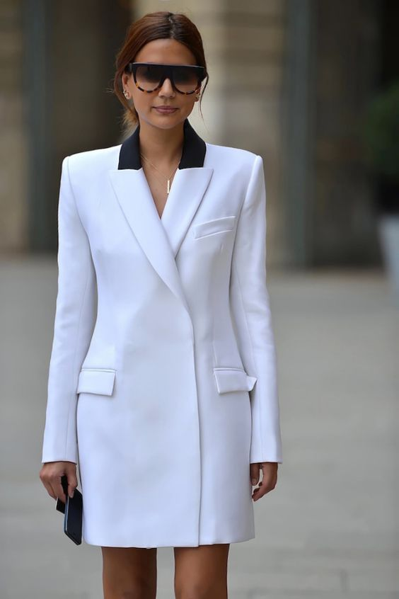 vit blazer klänning två färger