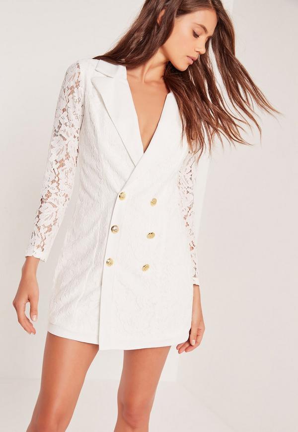 vit blazer klänning spets